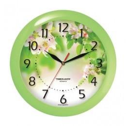 Часы настенные TROYKA 11121186, круг, белые с рисунком Весна, зеленая рамка, 29х29х3,5 см