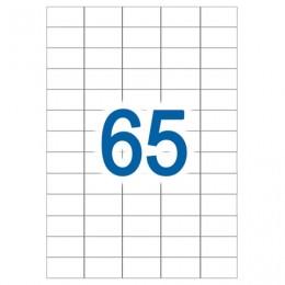 Этикетка самоклеящаяся УДАЛЯЕМАЯ, 38х21,2 мм, 65 этикеток, белые, 65 г/м2, 50 л., STAFF, 128844
