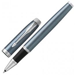 Ручка-роллер PARKER IM Core Light Blue Grey CT, корпус серо-голубой лак, хромированные детали, черная, 1931662