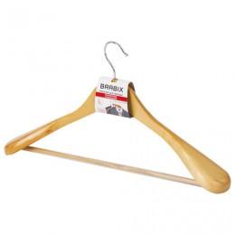 Вешалка-плечики, размер 48-50, деревянная, анатомическая, перекладина, цвет сосна, BRABIX Люкс, 601163