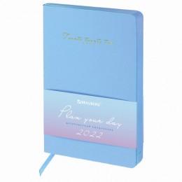 Ежедневник датированный 2022 А5 (138х213мм) BRAUBERG Pastel синий, 112854
