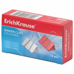 Зажимы для бумаг ERICH KRAUSE, комплект 12 шт., 19 мм, на 70 листов, цветные, в картонной коробке, 25089