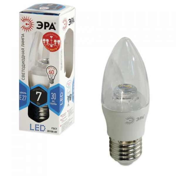 Лампа светодиодная ЭРА, 7 (60) Вт, цоколь E27,