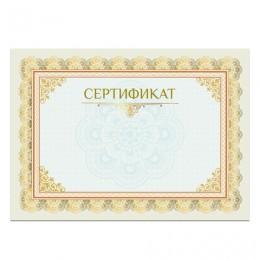 Сертификат А4, горизонтальный бланк №2, мелованный картон, конгрев, тиснение фольгой, BRAUBERG, 128375