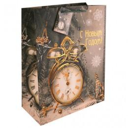 Пакет подарочный ламинированный, 17,8х22,9х9,8 см, Часы-ретро, ПЛОТНЫЙ, 250 г/м2, 75341