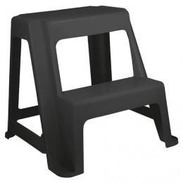 Табурет-стремянка 2 ступени, пластиковый, 48х47х41 см, цвет серый / темный графит, IDEA, М 2296
