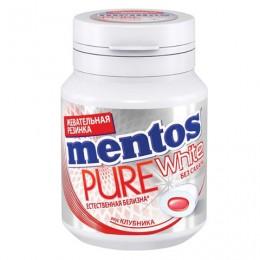 Жевательная резинка MENTOS Pure White (Ментос) Клубника, 54 г, банка, 67842