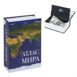 Сейф-книга Атлас мира, 55х115х180 мм, ключевой замок, BRAUBERG, 291051