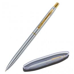 Ручка бизнес-класса шариковая BRAUBERG Brioso, СИНЯЯ, корпус серебристый с золотистыми деталями, линия письма 0,5 мм, 143463