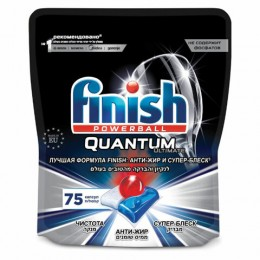 Таблетки для мытья посуды в посудомоечных машинах 75 шт. FINISH Quantum Ultimate, дой-пак, 3120823