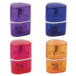 Точилка BRAUBERG Case с контейнером, пластиковая, треугольная, двухсторонняя, 3 отверстия, ассорти, 226943