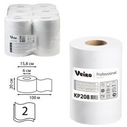 Полотенца бумажные с центральной вытяжкой VEIRO (Система M2), комплект 6 шт., Comfort, 100 м, 2-слойные, белые, KP208