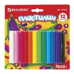 Пластилин классический BRAUBERG, 12 цветов, 200 г, высшее качество (Таиланд), блистер, 103350