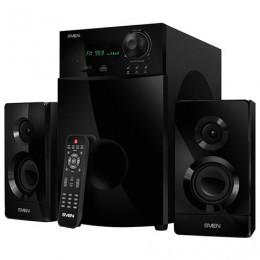Колонки компьютерные SVEN AC MS-2100, 2.1, 80 Вт, часы, FM-тюнер, дерево, черные, SV-012236