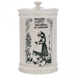 Чай HILLTOP Земляника со сливками, черный листовой, 125 г, керамическая чайница, F103