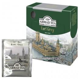 Чай AHMAD (Ахмад) Earl Grey, черный с ароматом бергамота, 100 пакетиков с ярлычками по 2 г, 595i-08
