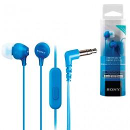 Наушники с микрофоном (гарнитура) SONY MDR-EX15AP, проводные, 1,2 м, вкладыши, стерео, голубые, MDREX15APLI.CE7