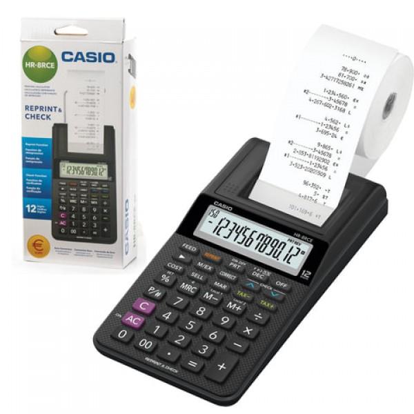 Калькулятор печатающий CASIO HR-8RCE-BK-W-EC (239х102х82 мм), 12 разрядов, батарейки 4хАА/адаптер (250402)