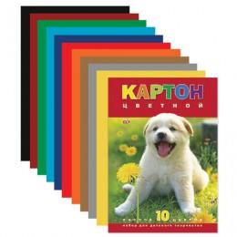 Картон цветной А4 МЕЛОВАННЫЙ, 10 листов 10 цветов, в папке, HATBER VK, 195х290 мм, Белый щенок, 10Кц4 03414, N217276