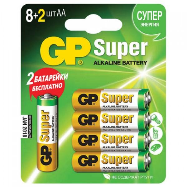 Батарейки КОМПЛЕКТ 10 шт. (промо 8+2), GP Super, AA (LR06,15А), алкалиновые, пальчиковые, блистер, 15A8/2-CR10