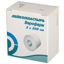 Лейкопластырь рулонный ВЕРОФАРМ, 3х500 см, тканевая основа, картонная коробка, 20024111