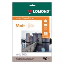 Фотобумага для струйной печати, A4, 90 г/м2, 100 листов, односторонняя матовая, LOMOND, 0102001