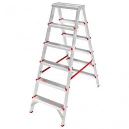 Лестница 6 ступеней (широкие), 2-х стороняя, высота 1,3 м, нагрузка 225 кг, алюминиевая, вес 6,3 кг, 3120206