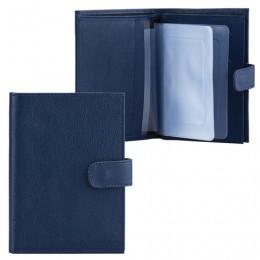 Бумажник водителя FABULA Largo, натуральная кожа, тиснение, 6 пластиковых карманов, кнопка, синий, BV.8.LG
