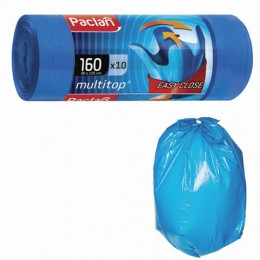 Мешки для мусора 160 л, с ушками, синие, в рулоне 10 шт., ПВД, 30 мкм, 90х125 см, PACLAN