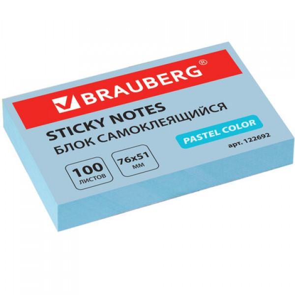 Блок самоклеящийся (стикеры) BRAUBERG, ПАСТЕЛЬНЫЙ, 76х51 мм, 100 листов, голубой, 122692
