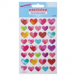 Наклейки гелевые Сердца, с блестками, 10х15 см, ЮНЛАНДИЯ, 661830