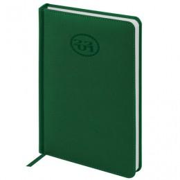 Ежедневник 2021 (138x213мм), А5, BRAUBERG Favorite, кожзам, зеленый, код 1С, 111370