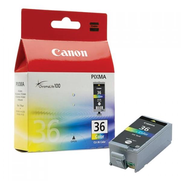 Картридж струйный CANON (CLI-36) PIXMA iP100, цветной, оригинальный, ресурс 250 стр., 1511B001