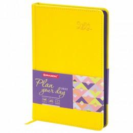 Ежедневник датированный 2022 А5 (138х213мм) BRAUBERG Rainbow желтый, 112773