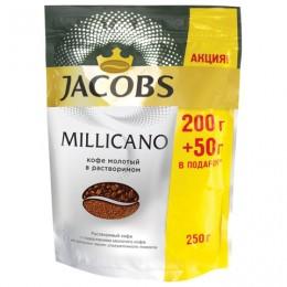 Кофе молотый в растворимом JACOBS (Якобс) Millicano, 250 г, мягкая упаковка, 63908
