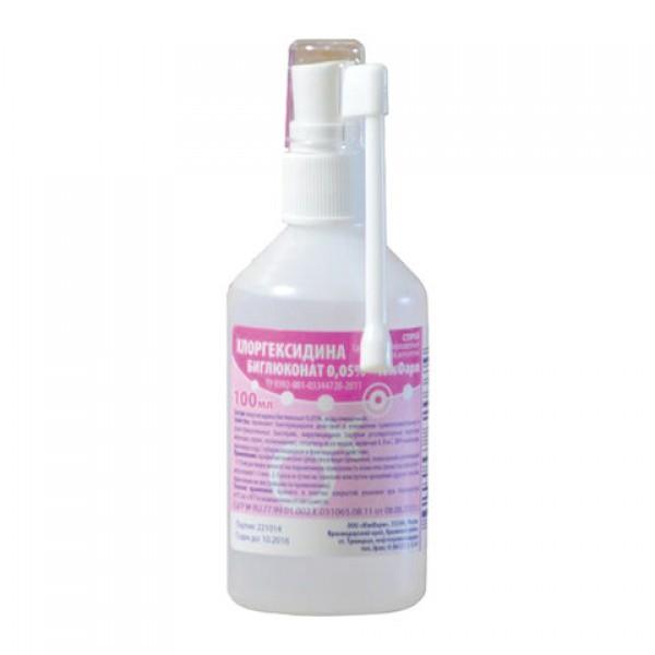 Антисептик для рук и поверхностей Хлоргексидин водный раствор 0,05%, спрей, 100 мл, Южфарм