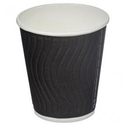 Одноразовые стаканы 200мл, КОМПЛЕКТ 37шт, бумажный ДВУХСЛОЙНЫЕ, Impresso Black Wave, холодное/горячее, HUHTAMAKI, 771W0900-2405