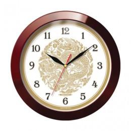 Часы настенные TROYKA 11131190, круг, бежевые с рисунком Золотой дракон, коричневая рамка, 29х29х3,5 см