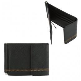 Зажим для купюр FABULA Brooklyn, натуральная кожа, контрастная отстрочка, 86х126 мм, черный, Z.12.BR