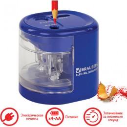 Точилка электрическая BRAUBERG Extra, два отверстия 6-8/9-12 мм, питание от 4 батареек АА, 228423