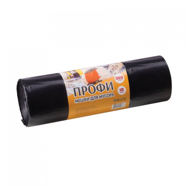 Мешки для мусора 360 л, черные, в рулоне 10 шт., ПВД, 65 мкм, 110х140 см, особо прочные, КОНЦЕПЦИЯ БЫТА