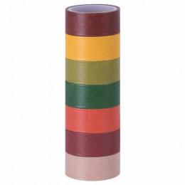 Клейкие WASHI-ленты для декора ИНТЕНСИВ, 7 теплых цветов, 15 мм х 3 м, рисовая бумага, ОСТРОВ СОКРОВИЩ, 661698