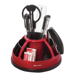 Канцелярский набор BRAUBERG Микс, 10 предметов, вращающаяся конструкция, черно-красный, блистер, 231929