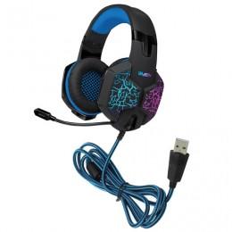 Наушники с микрофоном (гарнитура) SVEN AP-U980MV, проводные, 2,2 м, объемный звук 7.1, черно-синие, SV-015633
