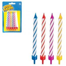 Праздничные свечи для торта, комплект 12 шт., с подставкой, 8,5 см, в блистере, 1502-0182