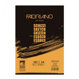 Альбом для рисования А4 (210х297 мм) FABRIANO Schizzi, мелкое зерно, 120 листов, 90 г/м2, 57721297