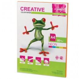 Бумага CREATIVE color (Креатив) А4, 80 г/м2, 50 л., неон, оранжевая, БНpr-50ор