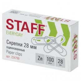 Скрепки STAFF, 28 мм, оцинкованные, 100 шт., в картонной коробке, Россия, 224799