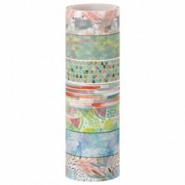 Клейкие WASHI-ленты для декора Микс №1, 15 мм х 3 м, 7 цветов, рисовая бумага, ОСТРОВ СОКРОВИЩ, 661709