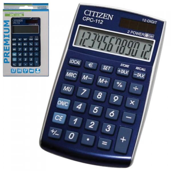 Калькулятор карманный CITIZEN CPC-112BLWB (120х72 мм) 12 разрядов, двойное питание, СИНИЙ